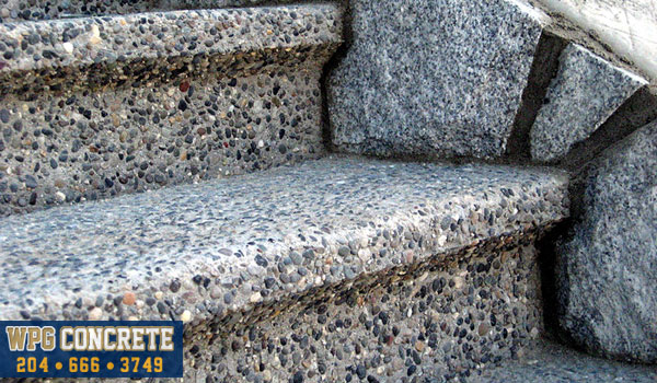 Completed exposed aggregate concrete steps in Winnipeg, Manitoba